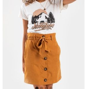 Paperbag button mini skirt